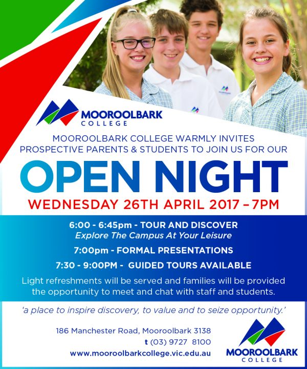 Open Night Wednesday 26th April