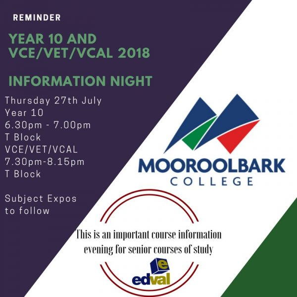 Year 10 and VCE/VET/VCAL Information Night