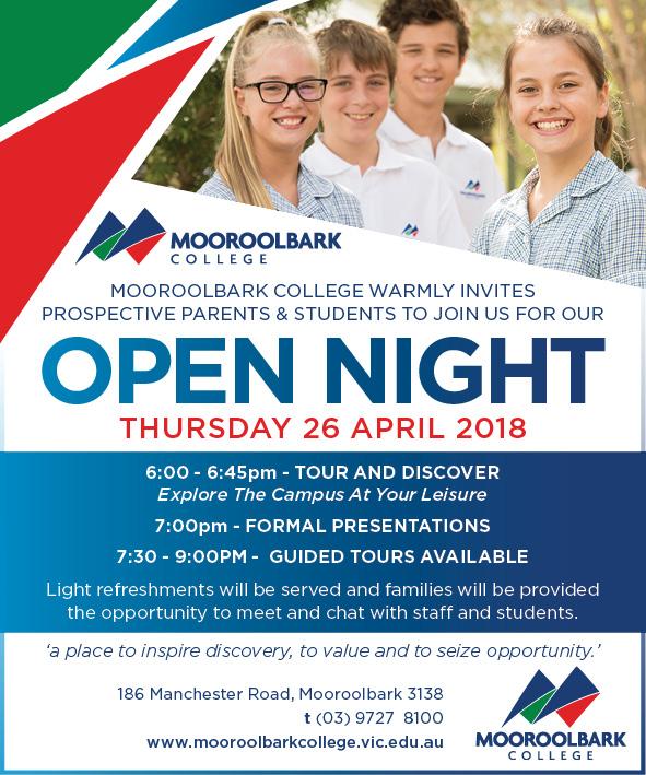 Open Night Thursday 26 April 2018