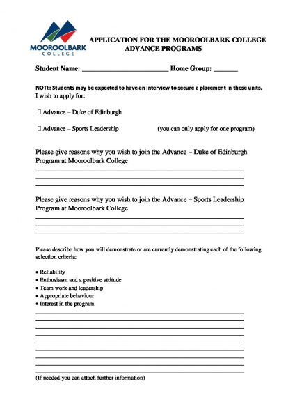 Year 9 Advanced Application 2019