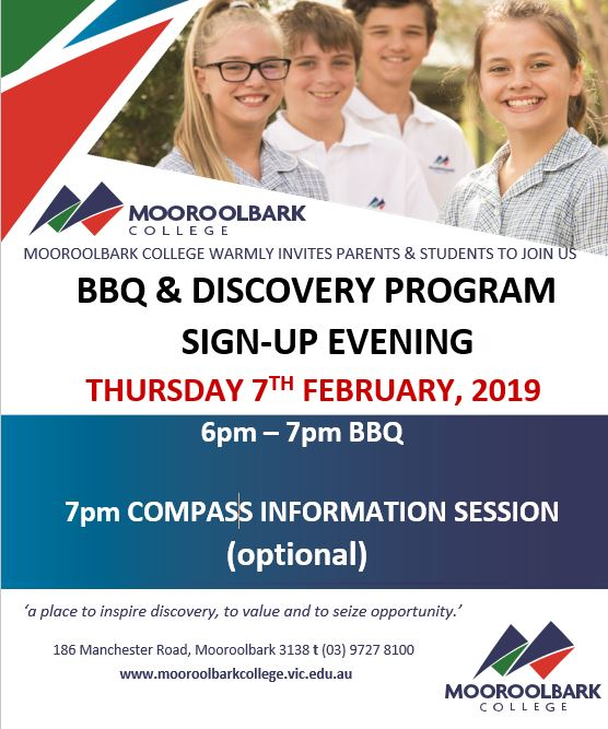 Year 7 BBQ and Discovery Program Sign-up Evening