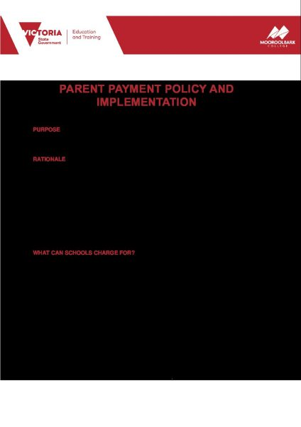 Parent Payment Policy and Implementation 2021